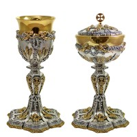 """BAROQUE STYLE CHALICE AND CIBORIUM WITH """"ANGELS AND EARS OF WHEAT"""" DESIGN (Mod. C60N-C61N)"""