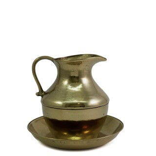 BRASS EWER AND BASIN