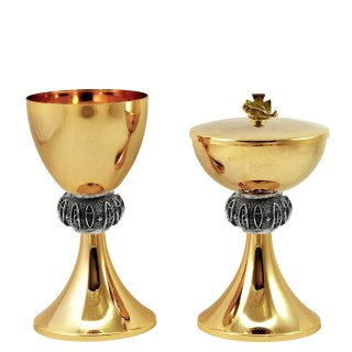"CHALICE & CIBORIUM WITH ""FISH AND PAX"" DESIGN C80-C81"