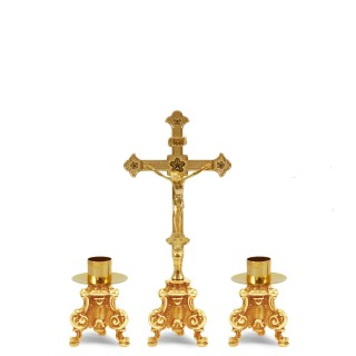 GOLDPLATED ALTAR CRUCIFIX AND CANDLESTICK SET