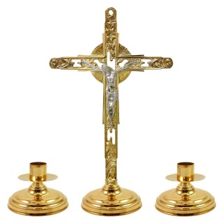ALTAR CRUCIFIX AND CANDLESTICK SET