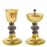 "CHALICE & CIBORIUM WITH ""GRAPES AND PAX"" DESIGN C110-C111"