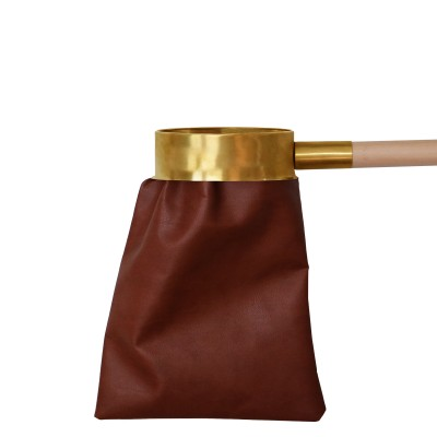 ARTIFICIAL BROWN LEATHER ALMS BAG WHIT HANDLE 1 MT