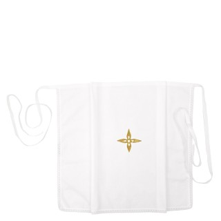 WHITE AMICE WITH FLOWER CROSS